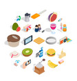 sweet food icons set isometric style vector image