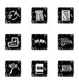 Translation icons set grunge style
