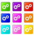 two gears icons 9 set vector image vector image