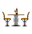 vintage table and chairs with wine vector image vector image