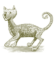 Woodcut Cat Drawing vector image vector image