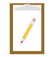 wooden clipboard with pencil vector image
