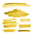 yellow gold watercolor shapes brush strokes vector image vector image