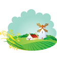 Rural background with windmill and ears vector image