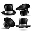 set of black magician cylinder hats vector image