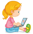 a girl and laptop vector image vector image