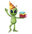 alien birthday on white background vector image