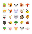 animals colored icons set vector image