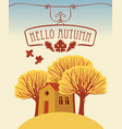 autumn landscape with trees and cheerful house vector image