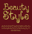 beautiful golden curly font isolated alphabet vector image vector image