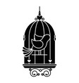 birdcage with cute dove icon vector image vector image