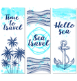 Blue vertical marine banners vector image vector image