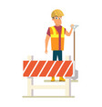 builder with shovel on road works flat vector image