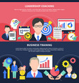 business training banners set vector image vector image