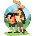 cartoon backpacker boy girl enjoying vacation vector image