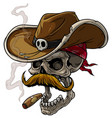 cartoon cowboy skull with hat mustache and cigar vector image vector image