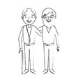 cartoon of two old men embraced friends together vector image