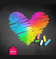 chalked sketch of rainbow colored heart vector image vector image