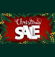 christmas sale red discount banner with large vector image vector image