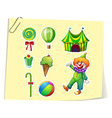 Clown and circus objects vector image vector image