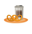 coffee cup and pretzels vector image vector image