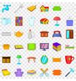 Cozy house icons set cartoon style