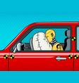 crash test dummy pop art vector image vector image