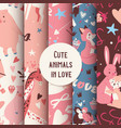 Cute animals seamless pattern with kissing