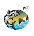 design barracuda fishing vector image