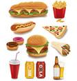 fast food items-hamburger fries hotdog drinks vector image
