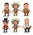 Five men characters in a cartoon wild West style vector image vector image