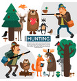 flat hunting composition vector image vector image