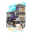 freehand watercolor travel card from Rome Italy vector image vector image