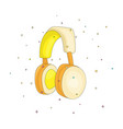 funny cartoon yellow headphones for listening to vector image