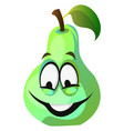 green pear cartoon face smiling on white vector image vector image