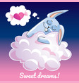 greeting card with a cartoon bunny on the cloud vector image