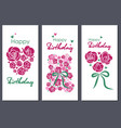 happy birthday set of three greeting cards vector image vector image