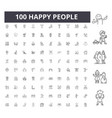 happy people line icons signs set vector image vector image