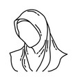hijab icon doodle hand drawn or outline icon vector image