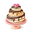 isolated birthday cake tier with roses vector image vector image