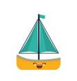 kawaii sailboat icon vector image