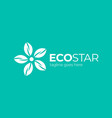 leaf green star icon logo design template green vector image