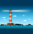 lighthouse with waves on sea building vector image vector image