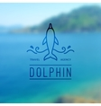 logo dolphin and waves vector image vector image