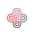 logo two color heart like sign medicine vector image vector image