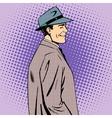 man coat hat retro style vector image vector image