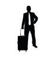 man with travel bag silhouette in black vector image vector image