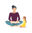 mom and daughter sitting on floor and reading book vector image