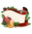 paper scroll with red and orange ornaments vector image