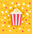 popcorn popping explosion red yellow strip box vector image vector image